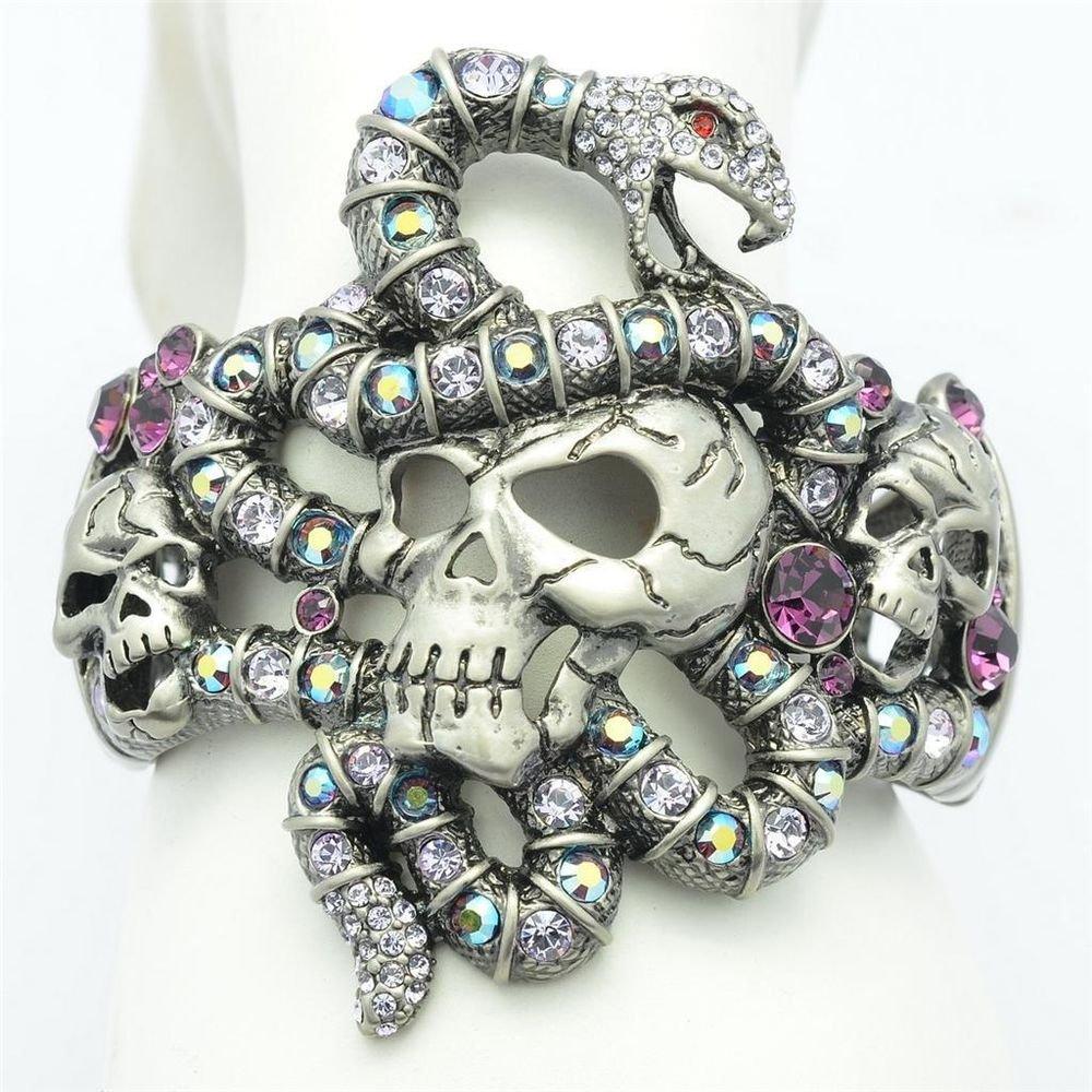 High Quality Purple Swarovski Crystals Vintage Snake Skull Bracelet Bangle Cuff