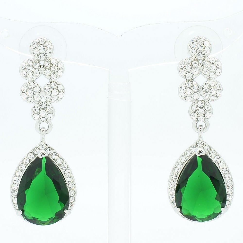 Women Dangle Tear Drop Earring W/ Green CZ Zircon Rhinestone Crystals 20662