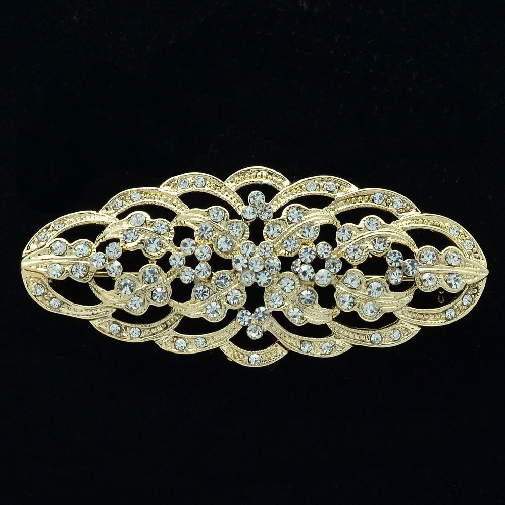 Europe Imperial Style Retro Flower Brooch Pins Clear Rhinestone Crystals XBY105