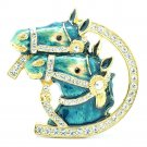 High Quality Cute Enamel Blue 2 Horse Brooch Broach Pin w/ Swarovski Crystals