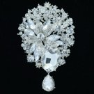Bridal Jewelry Drop Flower Brooch Broach Pins Clear Rhinestone Crystals 6022