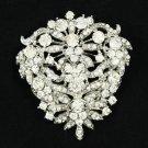Rhinestone Crystals Cute Clear Flower Brooch Broach Pins Bridal Jewelry 3802