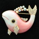 Luxury Swarovski Crystal Pink Enamel Dolphin Brooch Broach Pins Jewelry SBA4520