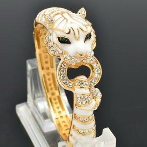 Tiptop Swarvoski Crystals Cute Clear Leopard Panther Bracelet Cuff Jewelry 2252