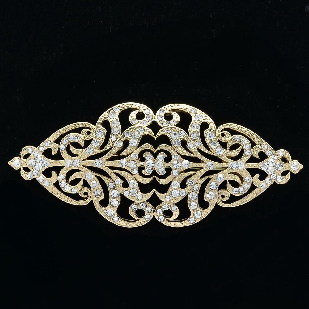 Europe Palace Style Flower Brooch Pins Rhinestone Crystal Women's Jewelry XBY104