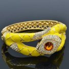 Excellent Swarovski Crystals Yellow Enamel Boa Snake Bracelet Bangle Cuff