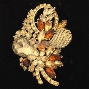 "Retro Brown Drop Bouquet  Flower Brooch Pin 3.5"" Rhinestone Crystals 4622"