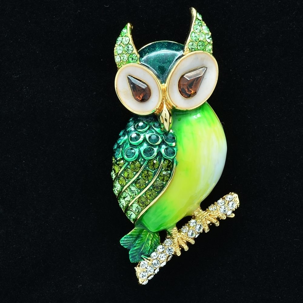 High Quality Swarovski Crystals Green Enamel Owl Brooch Broach Pin