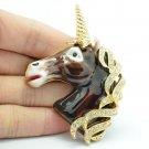 Swarovski Crystals Animal Brown Enamel Horse Unicorn Brooch Broach Pins SBA4522