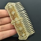 Golden Tone Rhinestone Crystals Palace Comb Headband Women Party Jewelry XBY086