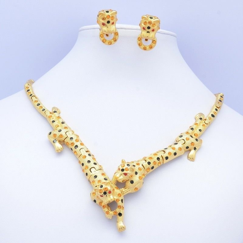 Gold Tone Animal Panther Leopard Necklace Earring Set W/ Topaz Swarovski Crystal