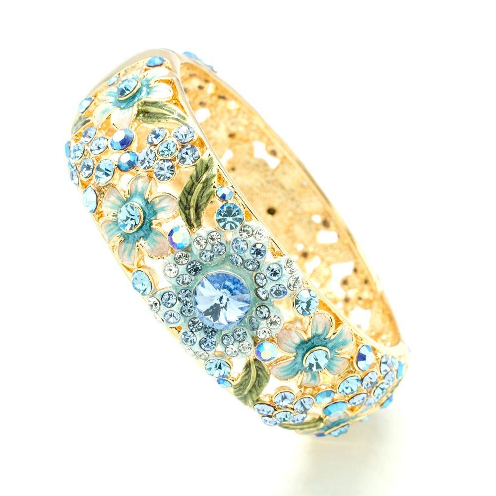 Luxury Enamel Blue Leaf Flower Bracelet Bangles Cuff Swarovski Crystals 1305M