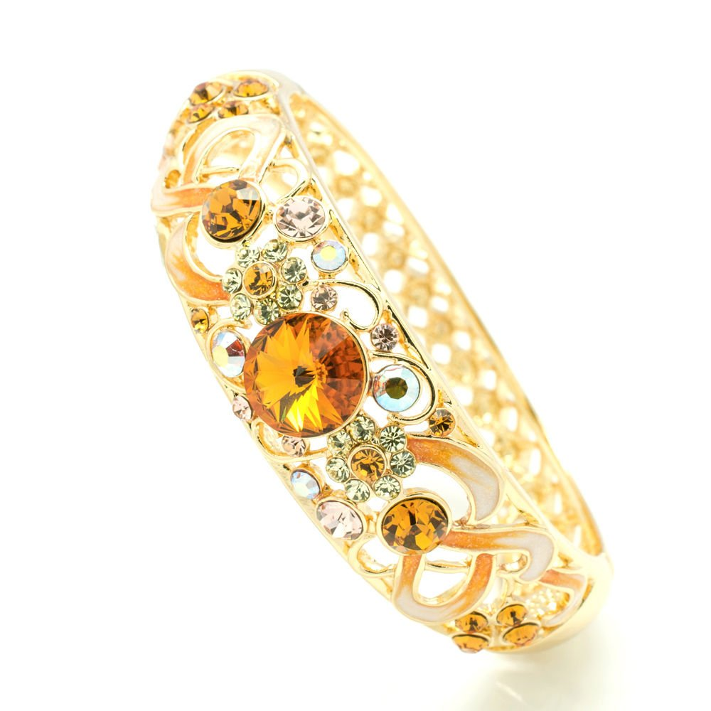 Luxury Swarovski Crystal Yellow Enamel Flower Bracelet Bangle Cuff SKCA1609A