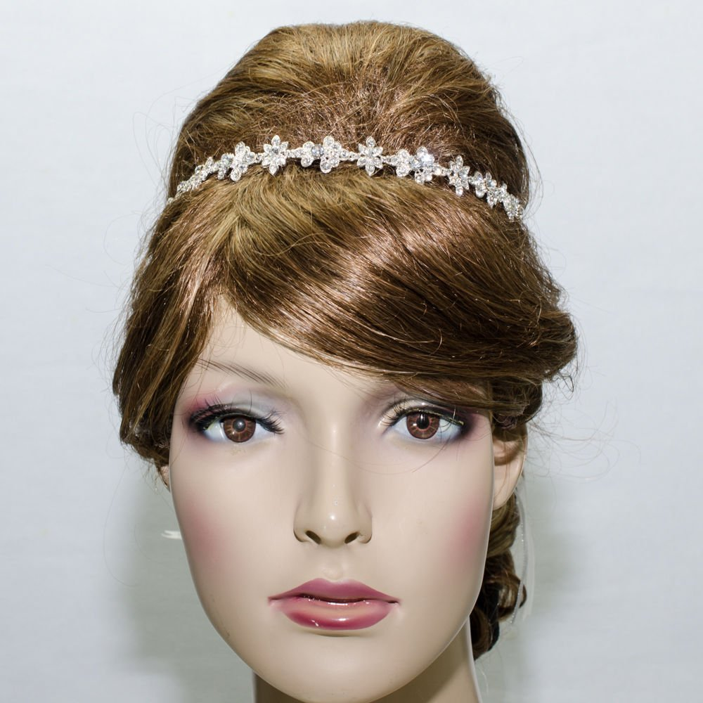 Rhinestone Crystals Flower Headband Chain Ribbon Wedding Bridal Jewelry 1012R