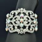 Flower Heart Bracelet Bangle Cuff For Women Clear A/B Rhinestone Crystals 2415