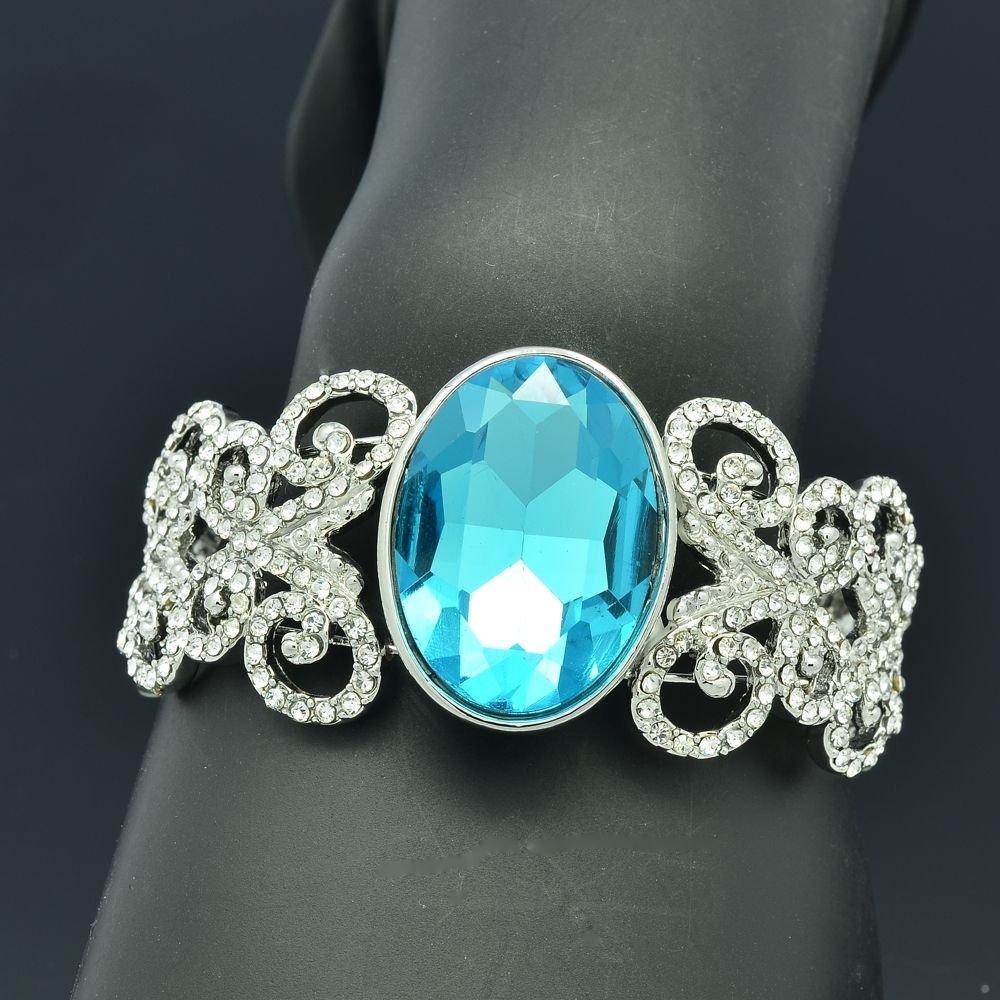 Blue Glass Wedding Butterfly Bracelet Bangle Cuff Rhinestone Crystals E9063B