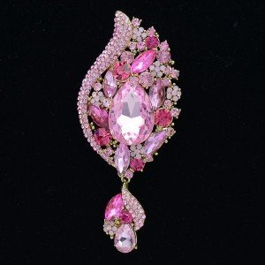 "Vogue Rhinestone Crystals Drop Pink Flower Pendant Brooch Broach Pins 4.1"" 4898"