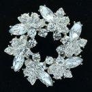 Dazzling Branch Round Leaf Flower Brooch Pin W/ Clear Rhinestone Crystals 3314