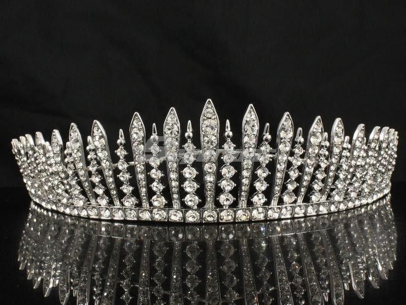 Clear Swarovski Crystals Teardrop Tiara Crown W/ For Bridal Prom Pageant JHA7758