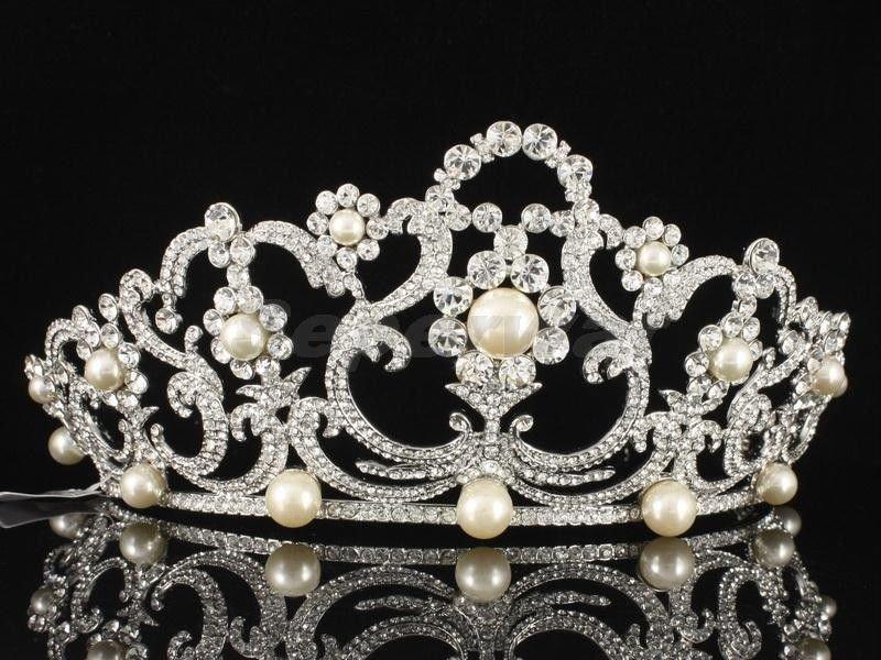 High Quality Swarovski Crystals Imitation Pearl Bridal Wedding Tiara Crown