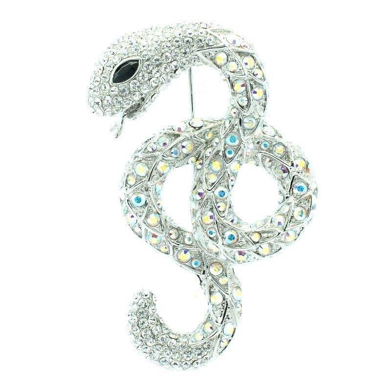 """Popular Swarovski Crystals Cute Animal Clear Snake Brooch Pin 2.6"""" SBA4440-2"""