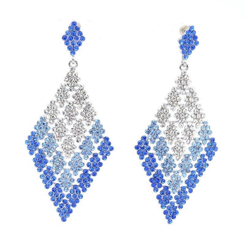 "Rhinestone Crystal 3.2"" Women Jewelry Dangle Pierced Earring Diamond Square 7444"