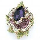 "Rhinestone Crystal Purple Rose Flower Brooch Broach Pin 2.7""Party for Women 5840"