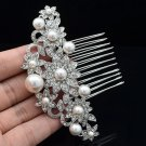 Clear Rhinestone Crystals Faux Pearl Flower Hair Comb Women Hair Jewelry 2141446
