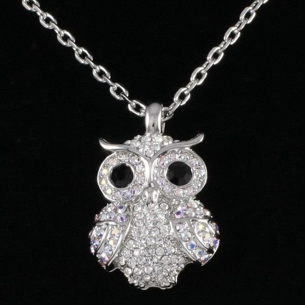 Clear Animal Owl Necklace Pendant Swarovski Crystals Women's Prom Jewelry SN3041