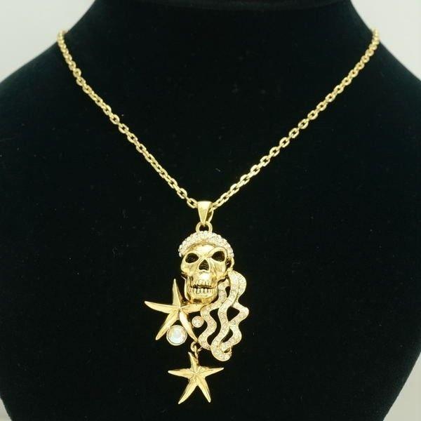 Chic Halloween Jewelry Swarovski Crystals Starfish Skull Necklace Pendant SN3112