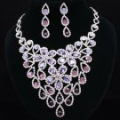 Grape Purple Necklace Earring Set Rhinestone Crystal Women's Accessories 54801