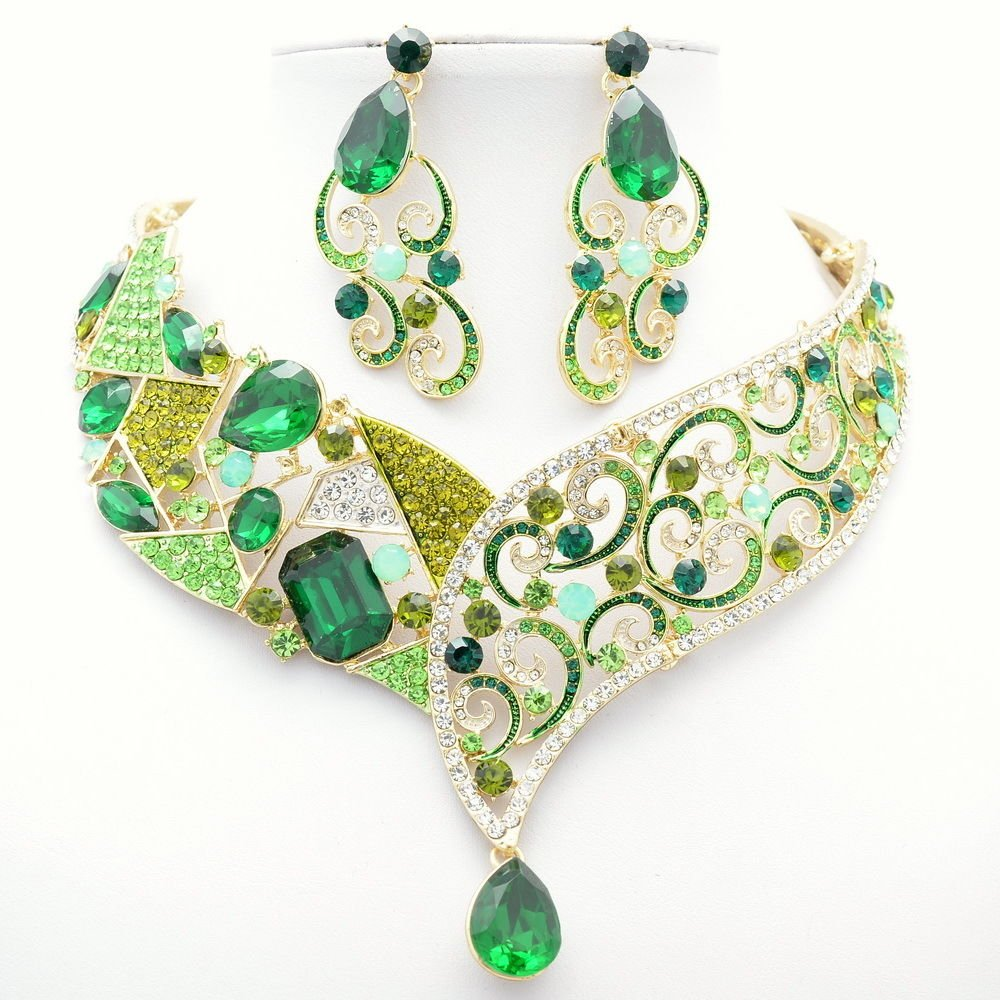 Smart Rhinestone Crystals Green Flower Necklace Earring Set Coil Drop Party 5103