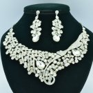 Clear Leaf Flower Necklace Earring Bridal Jewelry Sets Rhinestone Crystal 02622