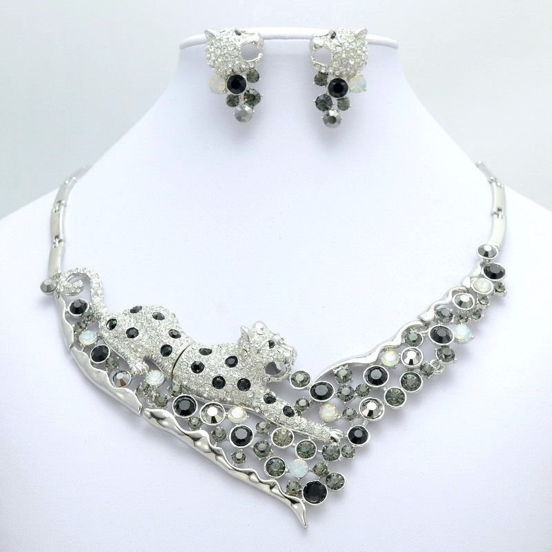 Gray Rhinestone Crystal Panther Leopard Necklace Set Women's Party Jewelry 02645