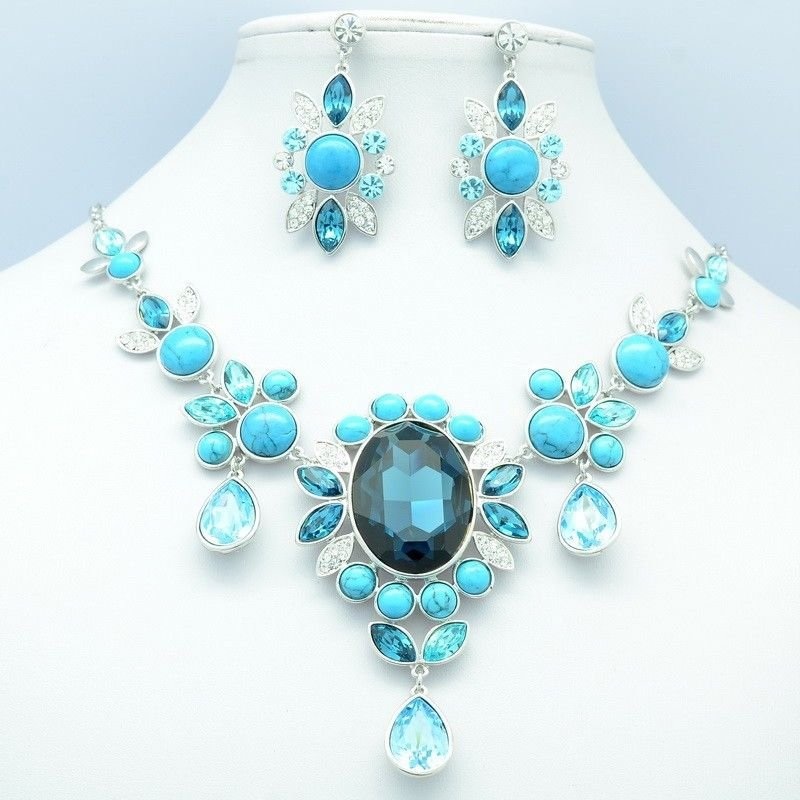 Flower Necklace Earring Sets Sea Blue Rhinestone Crystal Jewelry For Women 08402