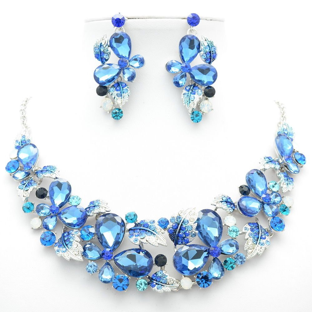 Pretty Blue Rhinestone Crystals Flower Leaf Butterfly Necklace Earring Set 05661