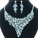 Exquisite Blue Flower Necklace Earring Set W/  Rhinestone Crystal For Women 1101