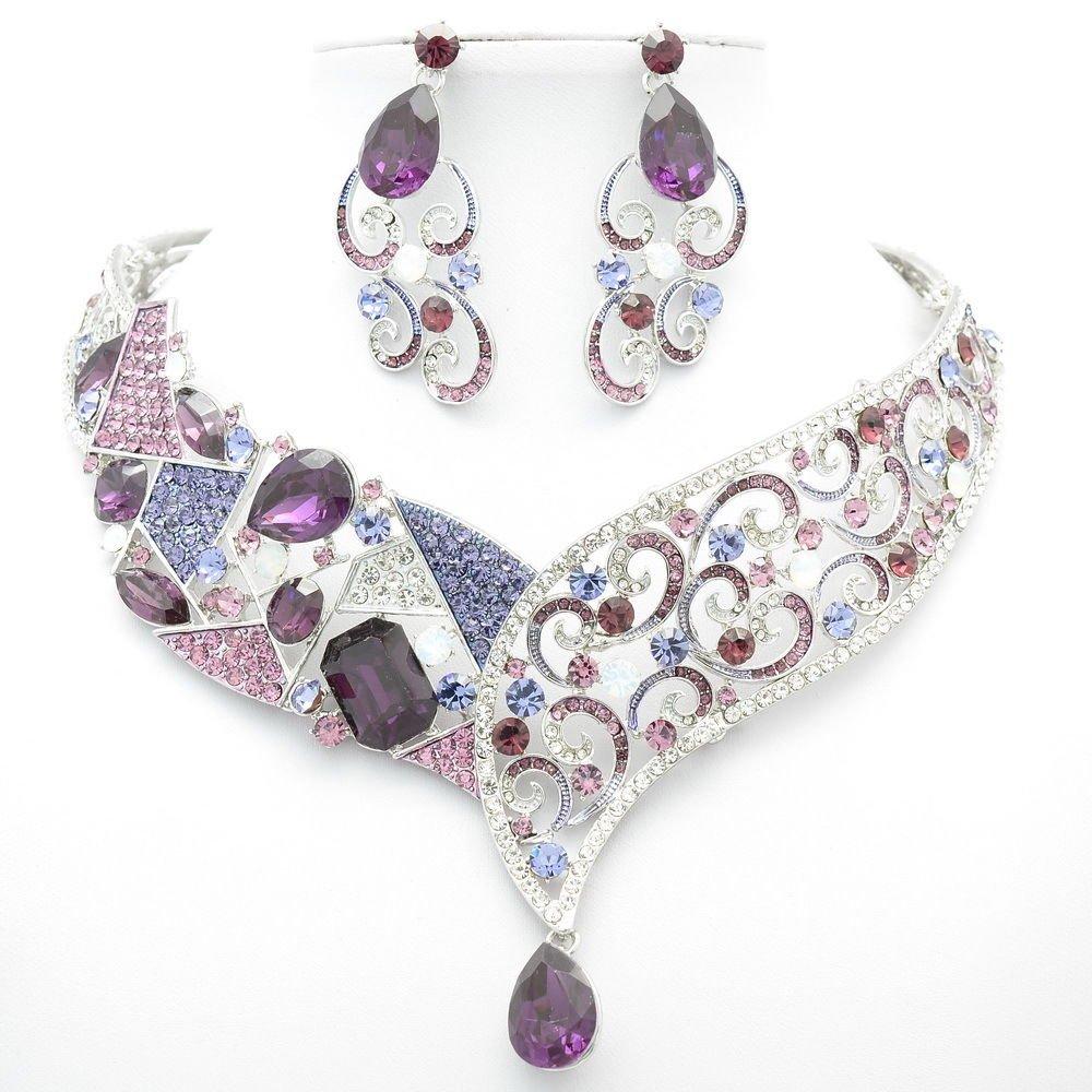 Super Rhinestone Crystal Purple Coil Drop Flower Necklace Earring Set Women 5103