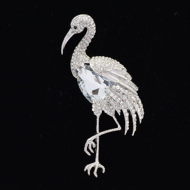 Clear Bird Flamingo Brooch Broach Pins Bridal Drop Rhinestone Crystals 04672