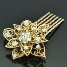 Gold Tone Rhinestone Crystal Big Flower Hair Comb Headband Women Jewelry XBY035