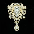 "5.1"" Rhinestone Crystals Flower Girdle Brooch Pin Pendant For Women Jewelry 4042"