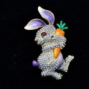 Hi-Q Cute Carrot Hare Rabbit Brooch Pin Swarovski Crystals Purple Enamel SBA4474
