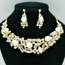 Dazzling Acrylic Flower Rose Necklace Earring Set Clear Rhinestone Crystals