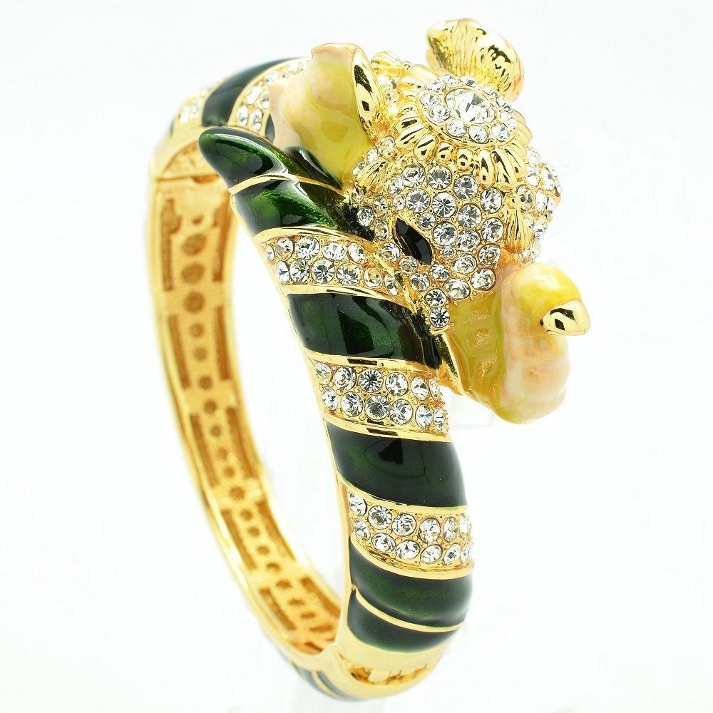 Rhinestone Crystals Dark Green Enamel Elephant Bracelet Cuff Women Jewelry 2251L