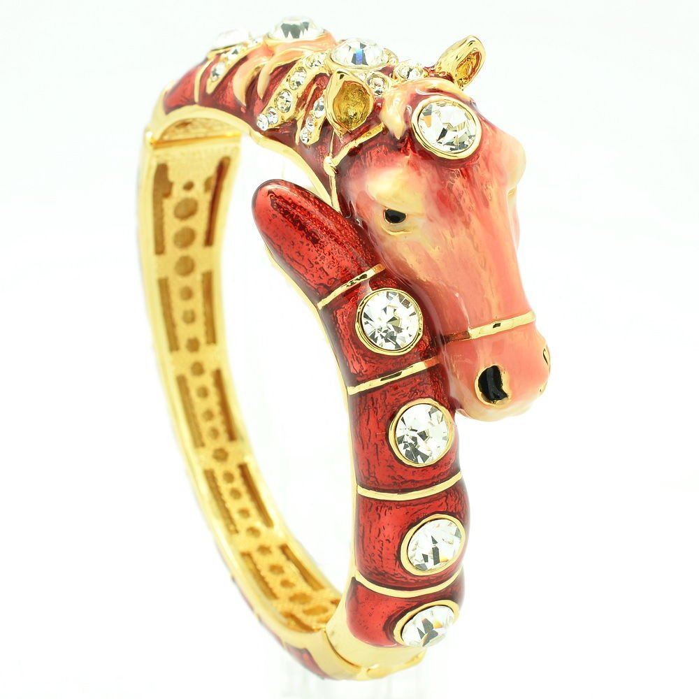 Rhinestone Crystal Animal Red Enamel Horse Bracelet Bangles Women Jewelry 2274L