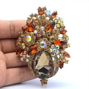 Glitzy Brown Flower Brooch Broach Costume Pin Rhinestone Crystals Tear Drop 5844