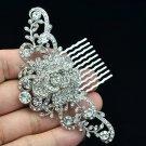 Bridal Bridesmaid Clear Flower Rose Hair Comb Jewelry Rhinestone Crystal 2939FS