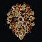 "Retro Drop Rhinestone Crystals Flower Brooch Broach Pin Pendant  3.9"" Topaz"