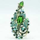 Vintage Green Flower Brooch Hat Pin Swarovski Crystals For Spring Jewelry 6406