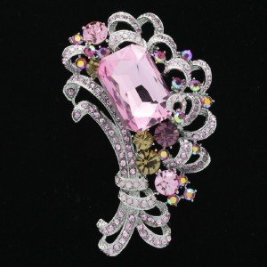 Pink Flower Floral Square Bouquet Brooch Pin Rhinestone Crystal 6031